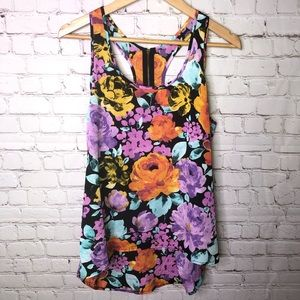 Ambiance Tops - Floral High Low Tank